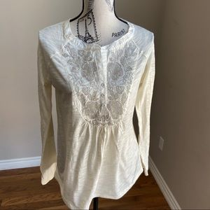 Anthro Meadow Rue long sleeve Embroidered tunic M